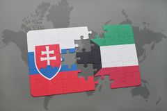 Puzzle with the national flag of slovakia and kuwait on a world map. Background. 3D illustration Royalty Free Stock Photos