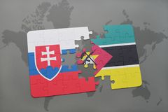 Puzzle with the national flag of slovakia and mozambique on a world map. Background. 3D illustration Stock Photo