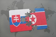 Puzzle with the national flag of slovakia and north korea on a world map. Background. 3D illustration stock photo