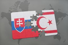 Puzzle with the national flag of slovakia and northern cyprus on a world map. Background. 3D illustration stock photos