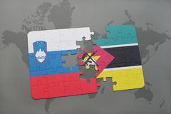 Puzzle with the national flag of slovenia and mozambique on a world map. Background. 3D illustration Stock Photography
