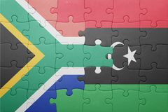 puzzle with the national flag of south africa and libya Stock Image