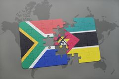 Puzzle with the national flag of south africa and mozambique on a world map. Stock Image