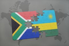 Puzzle with the national flag of south africa and rwanda on a world map. Puzzle with the national flag of south africa and rwanda on a world map background. 3D Stock Image