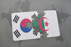 Puzzle with the national flag of south korea and algeria on a world map background. 3D illustration royalty free stock photography