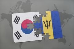 Puzzle with the national flag of south korea and barbados on a world map background. 3D illustration stock photography
