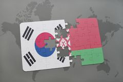 Puzzle with the national flag of south korea and belarus on a world map background. 3D illustration stock photo