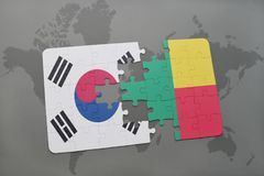 Puzzle with the national flag of south korea and benin on a world map background. 3D illustration royalty free stock photos