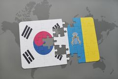 Puzzle with the national flag of south korea and canary islands on a world map background. 3D illustration stock photo