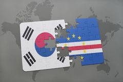 Puzzle with the national flag of south korea and cape verde on a world map background. 3D illustration stock images