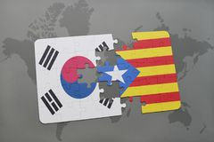Puzzle with the national flag of south korea and catalonia on a world map background. 3D illustration stock images