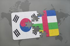 Puzzle with the national flag of south korea and central african republic on a world map background. 3D illustration stock images