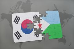 Puzzle with the national flag of south korea and djibouti on a world map background. Royalty Free Stock Photography
