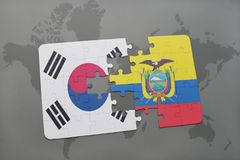 Puzzle with the national flag of south korea and ecuador on a world map background. 3D illustration royalty free stock photography