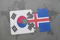 Puzzle with the national flag of south korea and iceland on a world map background. 3D illustration stock photos