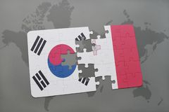 Puzzle with the national flag of south korea and malta on a world map background. Royalty Free Stock Photo