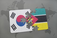 Puzzle with the national flag of south korea and mozambique on a world map background. 3D illustration Royalty Free Stock Images