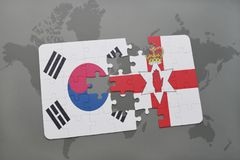 Puzzle with the national flag of south korea and northern ireland on a world map background. 3D illustration Royalty Free Stock Photos