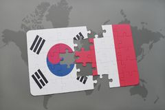 Puzzle with the national flag of south korea and peru on a world map background. 3D illustration royalty free stock photo