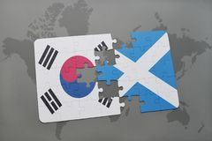 Puzzle with the national flag of south korea and scotland on a world map background. 3D illustration royalty free stock photo