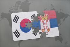Puzzle with the national flag of south korea and serbia on a world map background. 3D illustration stock images
