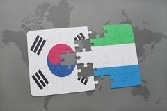 Puzzle with the national flag of south korea and sierra leone on a world map background. 3D illustration stock image