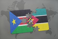 Puzzle with the national flag of south sudan and mozambiqueon a world map Stock Photo