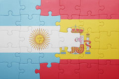 Puzzle with the national flag of spain and argentina Stock Photography