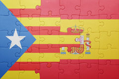 Puzzle with the national flag of spain and catalonia Royalty Free Stock Photography