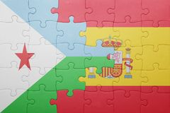 Puzzle with the national flag of spain and djibouti Royalty Free Stock Image