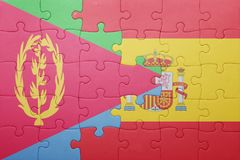 puzzle with the national flag of spain and eritrea Stock Image
