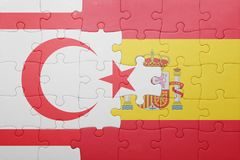 Puzzle with the national flag of spain and northern cyprus Stock Image