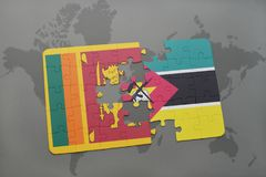 Puzzle with the national flag of sri lanka and mozambique on a world map Stock Images