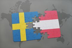 Puzzle with the national flag of sweden and austria on a world map background. 3D illustration Royalty Free Stock Image