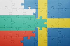 puzzle with the national flag of sweden and bulgaria Stock Image