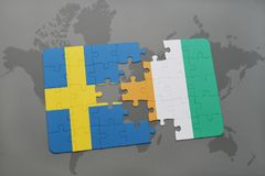 Puzzle with the national flag of sweden and cote divoire on a world map background. 3D illustration Royalty Free Stock Photo