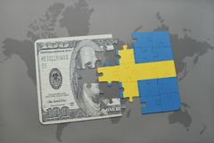 Puzzle with the national flag of sweden and dollar banknote on a world map background. 3D illustration Royalty Free Stock Images