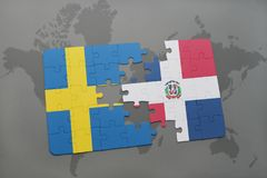 Puzzle with the national flag of sweden and dominican republic on a world map background. Royalty Free Stock Photo