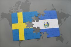Puzzle with the national flag of sweden and el salvador on a world map background. Royalty Free Stock Photos