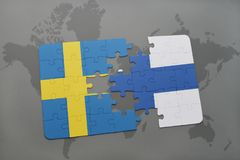 Puzzle with the national flag of sweden and finland on a world map background. 3D illustration Stock Photo