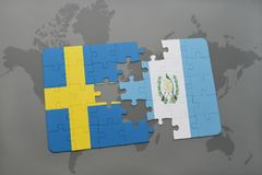 Puzzle with the national flag of sweden and guatemala on a world map background. Stock Images