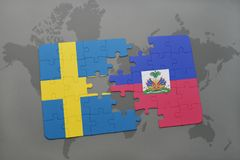 Puzzle with the national flag of sweden and haiti on a world map background. Stock Images