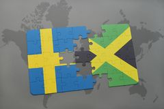 Puzzle with the national flag of sweden and jamaica on a world map background. 3D illustration stock photo