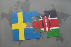 Puzzle with the national flag of sweden and kenya on a world map background. 3D illustration royalty free stock image