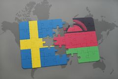 puzzle with the national flag of sweden and malawi on a world map background. Royalty Free Stock Image