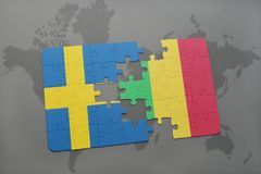 Puzzle with the national flag of sweden and mali on a world map background. Stock Images