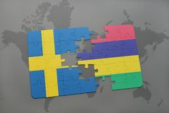 Puzzle with the national flag of sweden and mauritius on a world map background. Stock Images