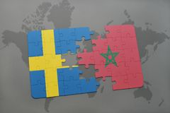 Puzzle with the national flag of sweden and morocco on a world map background. Stock Photography