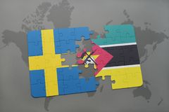 Puzzle with the national flag of sweden and mozambique on a world map background. 3D illustration Royalty Free Stock Photography