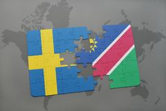 Puzzle with the national flag of sweden and namibia on a world map background. Stock Photos